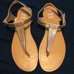Rose gold thong sandals